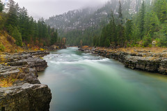 Snake River. (nevadoyerupaja) Tags: autumn usa nikond810 fall wyoming river snake lunchcounter rapids blur motionblur nd filter color colorful leaves bank forest trees peace serene fluid outdoors wild flowing water treesforest landscape flowers peaceful quiet snow snakeriver stream snakeriverrange wet rain tranquil