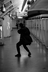Because ... I'm Happy (Lens a Lot) Tags: ebc fujinon t 135mm 25 70s | 6 blades iris m42 f25 paris 2016 black white street photography streetphotography bokeh depth field wide open metro subway underground tube gate station dance dancing light vintage manual focal fixed prime length lens japanese japan fujifilm fuji fujinon135mmf25