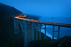 15 Seconds of Bixby (Allard Schager) Tags: ocean california statepark longexposure nightphotography bridge cliff usa mist seascape water beauty car fog architecture america 1932 landscape concrete dawn bay spring sand nikon rocks waves nightshot dusk unitedstatesofamerica shoreline bigsur rangefinder headlights highway1 pacificocean le april remote lighttrails bluehour amerika lente lowclouds breathtaking taillights gettyimages californie bixbybridge baai aesthetics bixbycreekbridge singlespan montereypeninsula santaluciamountains californiastateroute1 15s 100faves 2013 200faves 300faves d700 nikond700 nikkor2470mmf28 nikonfx allardone allard1 openspandrelarchbridge elpasgrandedelsur elsurgrande thebigcountryofthesouth allardschagercom thebigsouth