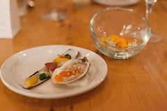 Snacks: Shellfish Courses (Rene S. Suen) Tags: toronto crab chorizo grapefruit mandarin oyster mussel parsley gel hazelnut preview caviar razorclam marben renedinesout simonbenstead robbragagnolo