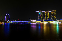 Singapore Flyer and Marina Bay Sands DSC05700 (Gladson777) Tags: reflection water museum night marina hotel bay flyer singapore colorful view sony arts science front sands dsc hx100v