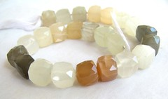 multi moonstone faceted cube beads2 (GemaliciousBeads) Tags: white strand beads gray peach 8mm multicolor moonstone 7mm facetedcubes