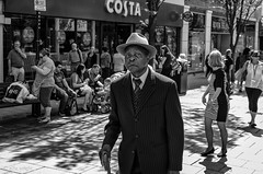 Costa Dude... (alfie2902) Tags: street nottingham uk people urban bw monochrome mono blackwhite pentax availablelight candid streetphotography streetportrait k5 blackwhitestreetphotography smcpentaxfa31mmf18limited alfie2902 alfiewright
