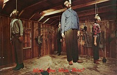 The Chamber of Horrors, Hangings, Southwestern Historical Wax Museum, Dallas TX (SwellMap) Tags: vintage advertising death pc 60s dummies fifties postcard kitsch retro nostalgia crime chrome western murder violence amusementpark hanging americana deathvalley 50s tacky roadside dummy themepark sixties frontier midcentury lynching oldwest frontiertown effigies waxmueum