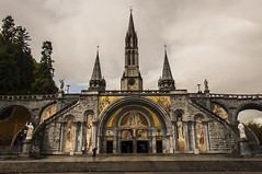 Basilica of the Rosary - Front (bvi4092) Tags: travel france building art church architecture photoshop nikon worship europe basilica religion nikkor lourdes thesanctuary d300s upperbasilica 18105mmf3556 thesanctuaryofourladyoflourdes nikon18105mmf3556