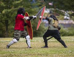 modern-day Romans (jadavid) Tags: roman portlandor portland oregon or st johns stjohns cathedralpark people sparring romans gladiators gladiator combat swords shields shield sword