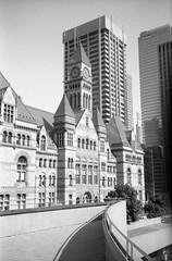 Old City Hall, Toronto (Richard Wintle) Tags: foma fomapan 200 adonal adox blackandwhite bw monochrome film 135 35mm 38mm f35 canon sureshot sureshotmax toronto ontario canada downtown oldcityhall cityhall
