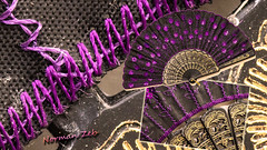 A Pien-Mien Chinese Fan / Stitches (a2roland) Tags: pienmien norman zeb a2rolandyahoocom pien mein chinese fan bce 2nd century old stitches macro purple shot blue embroidery gold glitter sheen shine close up micro nikon d5500 flicker photo picture near magnification lens times