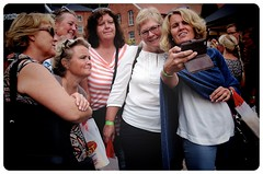 The Groupie... (iEagle2) Tags: women female frau femme groupie streetphotography sweden summer olympusep2 olympuspen ep2