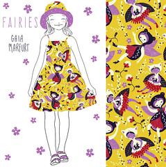 FAIRIES-dress (Gaia Marfurt) Tags: spoonflower patterndesign pattern kids fashion homedecor illustration fabric fabricdesign