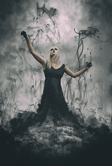 things from the past (mu-photography) Tags: whimsical smoke mist mysterious dark gothic witch magic storm brewing clouds fantasy warlock spellcaster enchantress woman female beautiful pale brookeshaden