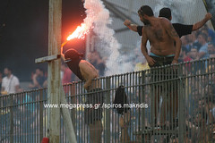 aris-aek friendly game (spirosmakridis) Tags: aris football aek greece fans   torch thessaloniki