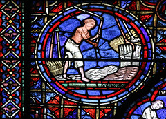 Vanitas  Threshing Grain (Lawrence OP) Tags: chartres cathedral stainedglass windows seasons labour calendar harvest threshing unesco medieval