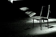 Alone in the Dark (wolfi8723) Tags: chair dark abandoned lostplace lights lost urbex grey black white bw shadow indoor inside verlassen old forgotten