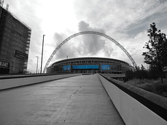 Wembley Stadium (davidntaylor1968) Tags: architecture builtstructure buildingexterior thewayforward walkway sky diminishingperspective parkmanmadespace cloudsky day pedestrianwalkway outdoors modern tallhigh footpath narrow curve long cloudy showcaseseptember photography football