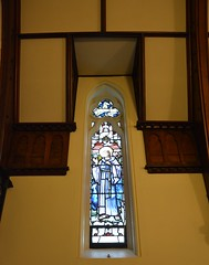 St Michael's War Chapel window to the memory of Norman Malcolm Reid, St Peter's Anglican Church, Glenelg, South Australia (contemplari1940) Tags: stgeorge stained glass window normanmalcolmreid warchapel stmichaelschapel glenelg hrcavalier rector wtcollyer contractor heatonbutlerbayne northwilliams reredos altar gksoward architect nigelsomersetdso sirrosssmith aviator rosssmithdfcmc