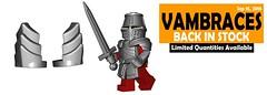 Sept 2016 - Steel Vambraces (BrickWarriors - Ryan) Tags: brickwarriors custom lego minifigure weapons helmets armor vambraces plate steel tassets great helm medieval fantasy castle