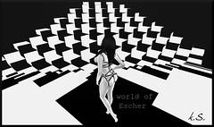 Infinite Perspective - Escher World (klita Slade - slave&masochist -) Tags: escher lea secondlife sl art travel bw blackandwhite