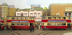 Problems at Trinity Square (kingsway john) Tags: london transport model tram layout tramway 176 scale oo gauge kingsway models card kits railway street 1950