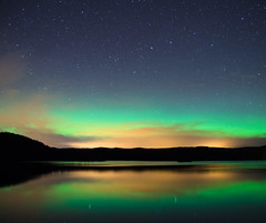 Lady Aurora and the fireclouds (Stle Meyer) Tags: green norge norway eidsvoll gullverket stars reflection lake water waterscape northernlights aurora auroraborealis autumn nordlys nikon d7000 sigma