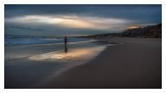 She Stands Alone (BlueberryAsh) Tags: capewoolami phillipisland september2016 sea oceanseascape reflection sunset beach australia australianbeach girl waves nikon nikond750 nikon24120 cloudsstormssunsetssunrises