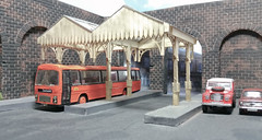 Bockleys Plaxton Panorama at Durham Arches Bus Station. (ManOfYorkshire) Tags: bockleys coach efe diecast rebuilt modified local service plaxton panorama eastkent baz2223 reregistered 1970 bristoldome ecw parts fitted orange black durham arches busstation bus payasyouenter return journey grant doors folding destination display