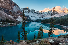 Beautiful- October 5, 2016 (zachary.locks) Tags: ab above alberta apenglow banff beautiful blue calm canada capped clean clear cold colorful crystal cy365 early famous lake moraine morning mountains national overlook park peaks pile rock snow still sunrise ten trees valley zlocks