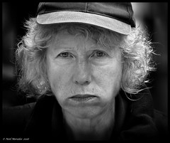 No ! (Neil. Moralee) Tags: neilmoralee face portrait woman lady mature hat curly hair close unwanted shame guilt magic happy people other stress stressed life fed up neil moralee nikon d7100 18300mm candid street spain salamanca eye eyes stare glare wrinkle wrinkled wrinkles black white bw blackandwhite sarahknight underwhelmed mono monochrome dark
