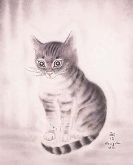 Tsuguharu Foujita — Tabby Cat, 1926. Mixed media: watercolor and ink on silk. Private collection. Animals1920s (ArtAppreciated) Tags: fineart painting blogs tumblr artblogs artappreciated artoftheday artofdarkness artofdarknessco artofdarknessblog tsuguharu foujita cat kitteh tabby 1920s watercolor silk date1926 japanese artists ink animals 20th century art modern modernism realism figurative cute