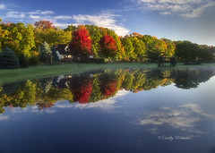 Autumn at Home (kweaver2) Tags: nature kathyweaver landscape erie pennsylvania autumn fall trees color water pond reflections sky clouds mapletrees