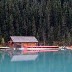 Lake Louise, Canada (Sunny Herzinger) Tags: travel lake banff house fujixpro2 canada boats nationalpark alberta lakelouise ca