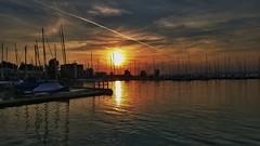 Blazed sky... (AlexDemko) Tags: clouds sky bluesky nightsky dusk balaton lgcamera lgg4 sonysensor sunset summer airplane boat lake ship cruiseship redsky sun sunrise
