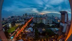 Bangkok Skyline - View From Pathumwan Princess Hotel (Gerald Ow) Tags: blue hour geraldow canon eos 5dmkii 5dmk2 sigma 15mm f28 fisheye long exposure night photography pathumwan princess mbk thailand bangkok ngc