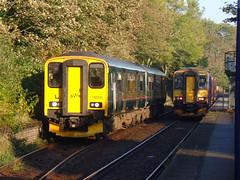 150232, 153377 & 153368 Penryn (2) (Marky7890) Tags: gwr 153368 class153 2f70 supersprinter penryn railway station cornwall train 153377 class150 sprinter 150232 maritimeline 2t69