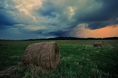 """silence before the storm"" (Karel Hrouzek P H O T O) Tags: storm clouds evening sunset rain dusk twilight mountains forest nature bohemian paradise trosky bale harvest haze grass landscape czech landschaft autumn rainy windy nikon sigma hdr exposure"