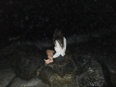 yearning (esclave de la mer) Tags: ocean white black beach girl night dark moss sand rocks legs hipster rocky longbeach denim shorts brunette mermaid