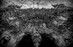 Enter (Gaudi) (faranorclarke) Tags: barcelona bw church religious blackwhite spain nikon cathedral jesus wide entrance sigma wideangle doorway gaudi enter sagradafamilia neogothic 1020mm vignetting 1020 lightroom d90 vignet thenativityfacade