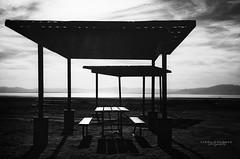 Desolate (Linda Goodhue) Tags: saltonsea sea water lake blackandwhite monochrome highcontrast silhouette picnictables restarea beach southerncalifornia desert california lindagoodhuephotography nikond800 sky clouds sun desolate abandoned