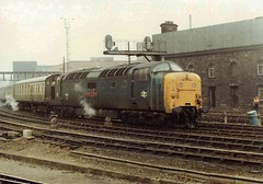 55011 with empty stock at Newcastle in the early 1980s (colin9007) Tags: english electric type 5 class 55 napier deltic newcastle