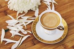 Espresso Break (hellobright) Tags: espresso coffee cup cappuccino fresh flower floral natural cafe white petal petals mug hot drink aroma beverage caffeine