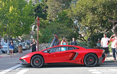 Aventador SV (sumosloths) Tags: lamborghini aventador sv super veloce superveloce red rosso mars profile side scissor doors door up open lambo monterey car week 2015 carmel downtown ocean ave avenue pebble beach concours show supercars parked sumosloths spotted spotting