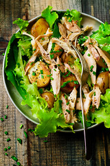 Chicken and potato warm salad (Zoryanchik) Tags: salad warm chicken meal lunch dish food potatoes tasty rustic onion healthy dinner appetizer lettuce roasted green closeup fresh vintage lifestyle leaf vegetable