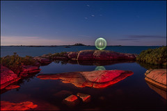 Under The Summer Triangle (Rodrick Dale) Tags: the summer triangle georgian bay killarney ontario canada lightpainting sky star rock reflections moonlight island