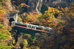 Narugo gorge,,, , Japan (Vincent_Ting) Tags:  japan    railway maples autumn  bridge    ginkgotree bluesky  river  tadamiline tadamisen jr  aizuwakamatsustation      yamagatacastle  narugogorge gorge  narugohotspring    sendai miyagiprefecture    yamadera    cablecar                   vincentting
