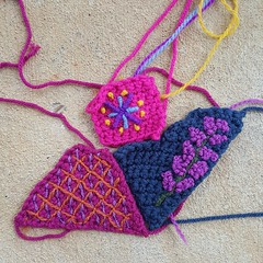 Three more tricked out crochet crazy quilt pieces (crochetbug13) Tags: crochet crocheted crocheting crazyquilt crazy quilt 2016 northcarolina statefair embroider blanketstitch embroidery embroidered bullion frenchknot knot multicolor flower flowers