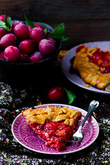 gallet with bran and plum . style rustic (Zoryanchik) Tags: pie homemade background wooden tart pastry cake food fresh rustic sweet green healthy fruit galette delicious dessert bakery lunch summer tasty sugar home gallete plum