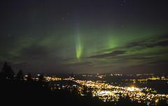 Under the northern lights (MargitHylland) Tags: nordlys northernlights nordlicht norwegen gjvik oppland norway mjsa evening night nacht grn green