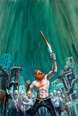 Redbeard, paperback cover by Frank Kelly Freas, 1969 (Tom Simpson) Tags: kellyfreas frankkellyfreas illustration scifi sciencefiction scifiart art painting redbeard paperback cover 1969 1960s sword beheading beheaded beard redhead