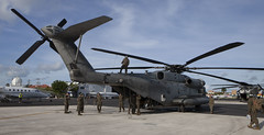 U.S. Marines with Special Purpose Marine Air-Ground Task Force  Southern Command arrive in the Cayman Islands aboard two CH-53E Super Stallion helicopters ready to support the humanitarian-aid and disaster relief effort to Haiti in response to Hurricane (Official U.S. Navy Imagery) Tags: hurricanematthew storm gtmo meteorology weather shelter evacuation navy usnavy grandcayman caymanislands ky