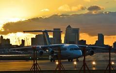 EI-RJO (2) @ LCY 25-09-16 (AJBC_1) Tags: london londoncityairport eglc lcy flylcy aviation plane passengerplane jet aircraft airliner aeroplane civilaviation londonsroyaldocks londonboroughofnewham newham northwoolwich eastlondon transportation transport cityjet rj85 dlrblog avgeek england unitedkingdom uk ajc airplane eirjo royaldocks docklands nikond3200 sunset dusk citybuilding cityskyline city